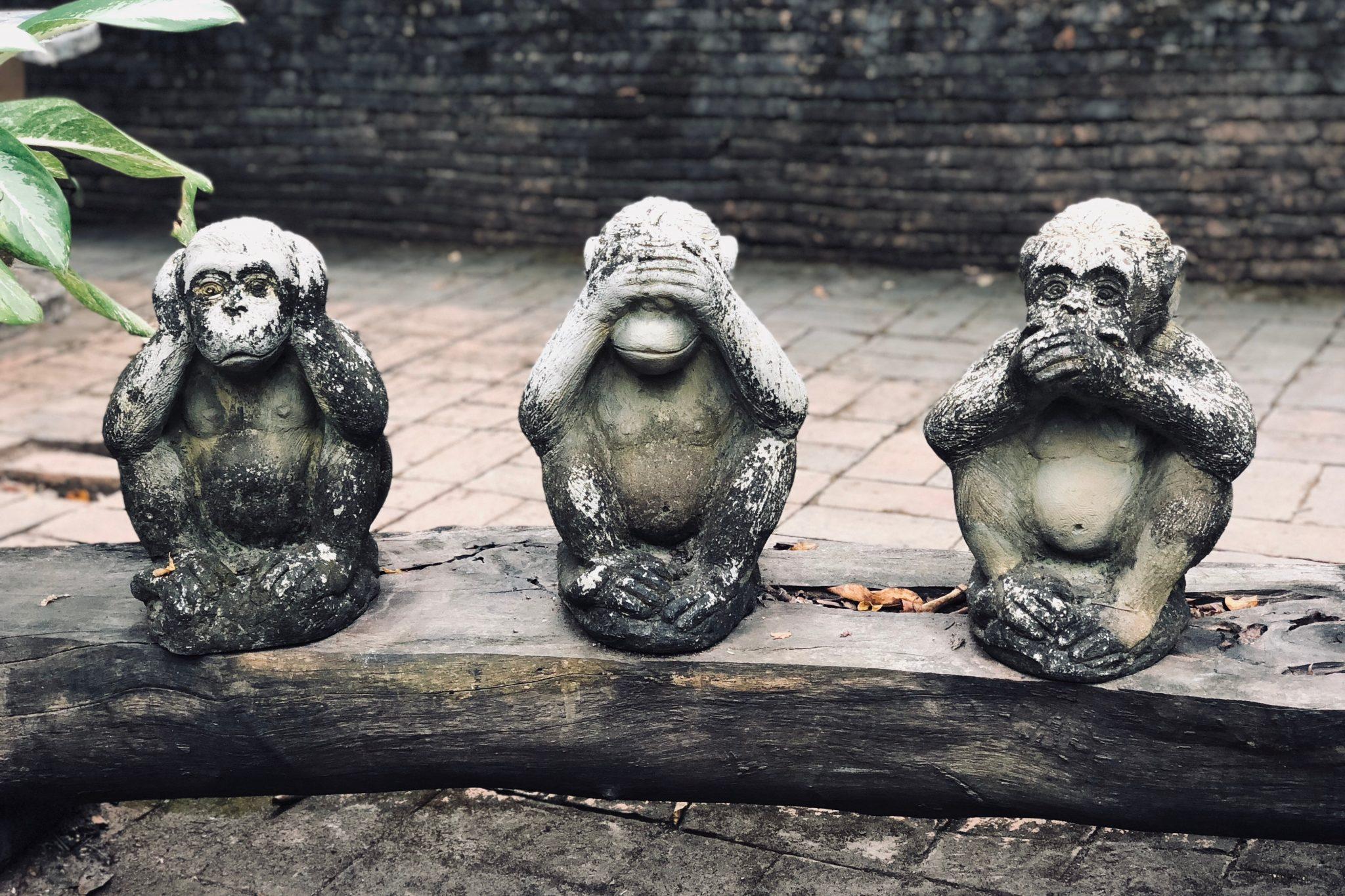 Drei Affen: nichts sehen, hören, sprechen